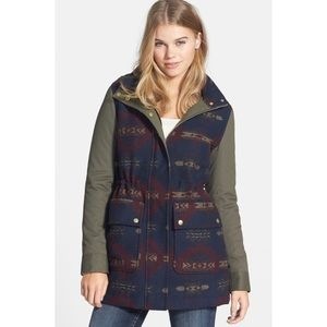 Army Green Aztec Hooded Jacket